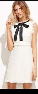 Dresses & Skirts - Bow Tie Neck Frayed Trim Tweed Dress